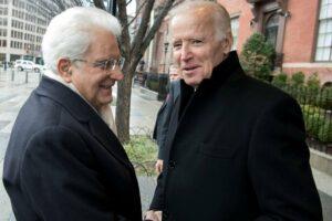Biden, allora vicepresidente, accoglie il presidente Mattarella a Washington nel 2016