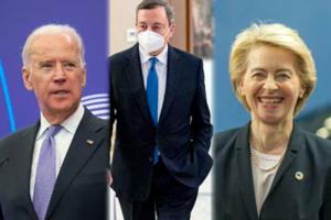 Joe Biden, Mario Draghi, Ursula Von Der Leyen