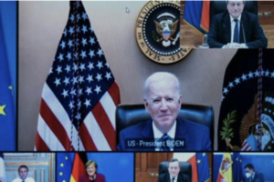 Presidente Biden in videoconferenza con leader europei
